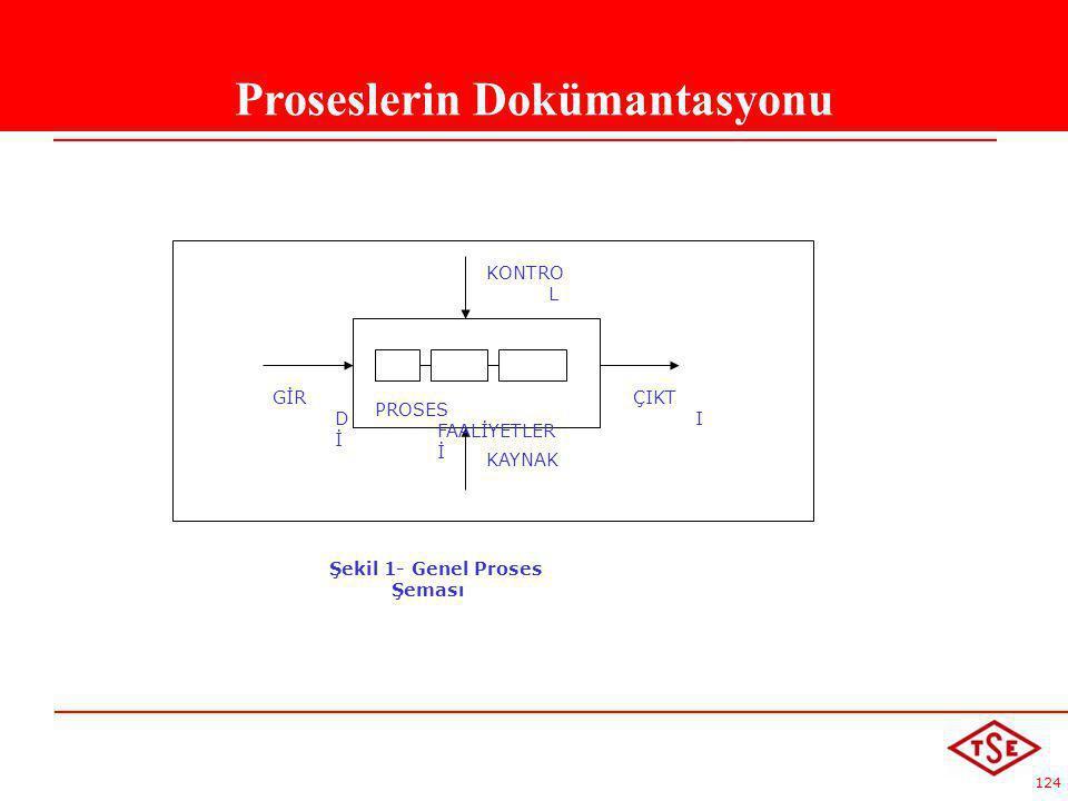 124 Proseslerin Dokümantasyonu GİR D İ KAYNAK ÇIKT I KONTRO L Şekil 1- Genel Proses Şeması PROSES FAALİYETLER İ