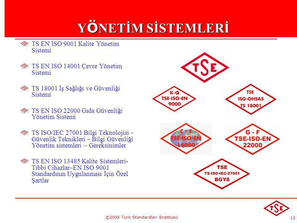 13 ©2009 Türk Standardları Enstitüsü Y Ö NETİM SİSTEMLERİ TS EN ISO 9001 Kalite Yönetim Sistemi TS EN ISO 14001 Çevre Yönetim Sistemi TS 18001 İş Sağl