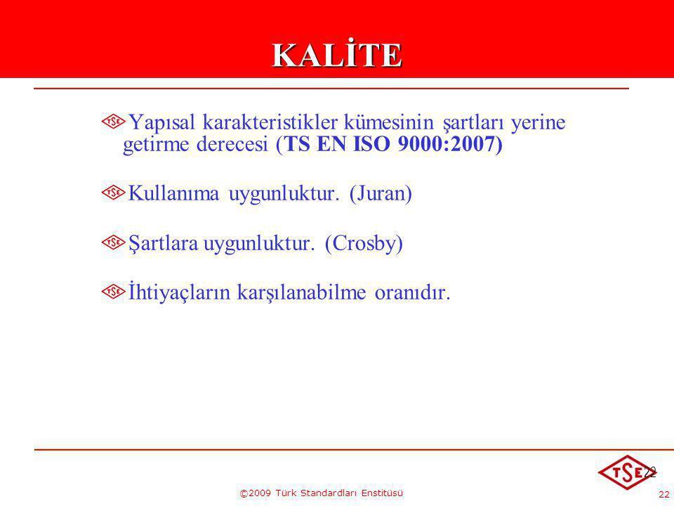 22 ©2009 Türk Standardları Enstitüsü 22KALİTE Yapısal karakteristikler kümesinin şartları yerine getirme derecesi (TS EN ISO 9000:2007) Kullanıma uygu
