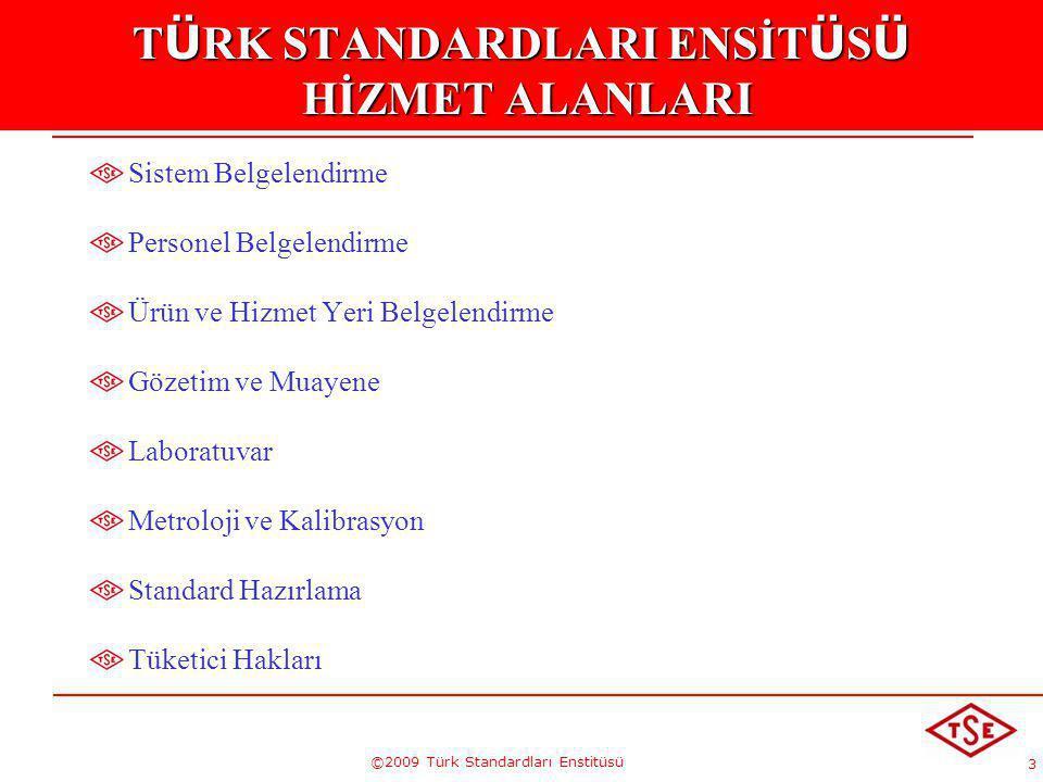 3 ©2009 Türk Standardları Enstitüsü T Ü RK STANDARDLARI ENSİT Ü S Ü HİZMET ALANLARI Sistem Belgelendirme Personel Belgelendirme Ürün ve Hizmet Yeri Be