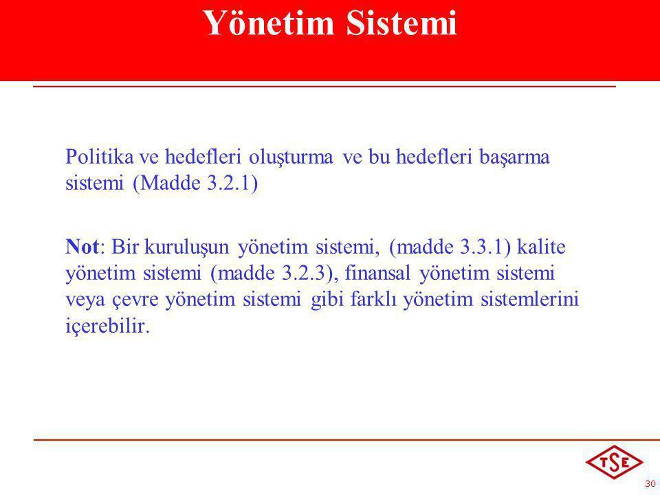 30 Politika ve hedefleri oluşturma ve bu hedefleri başarma sistemi (Madde 3.2.1) Not: Bir kuruluşun yönetim sistemi, (madde 3.3.1) kalite yönetim sist
