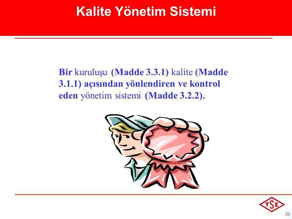 31 Kalite Yönetim Sistemi Bir kuruluşu (Madde 3.3.1) kalite (Madde 3.1.1) açısından yönlendiren ve kontrol eden yönetim sistemi (Madde 3.2.2).
