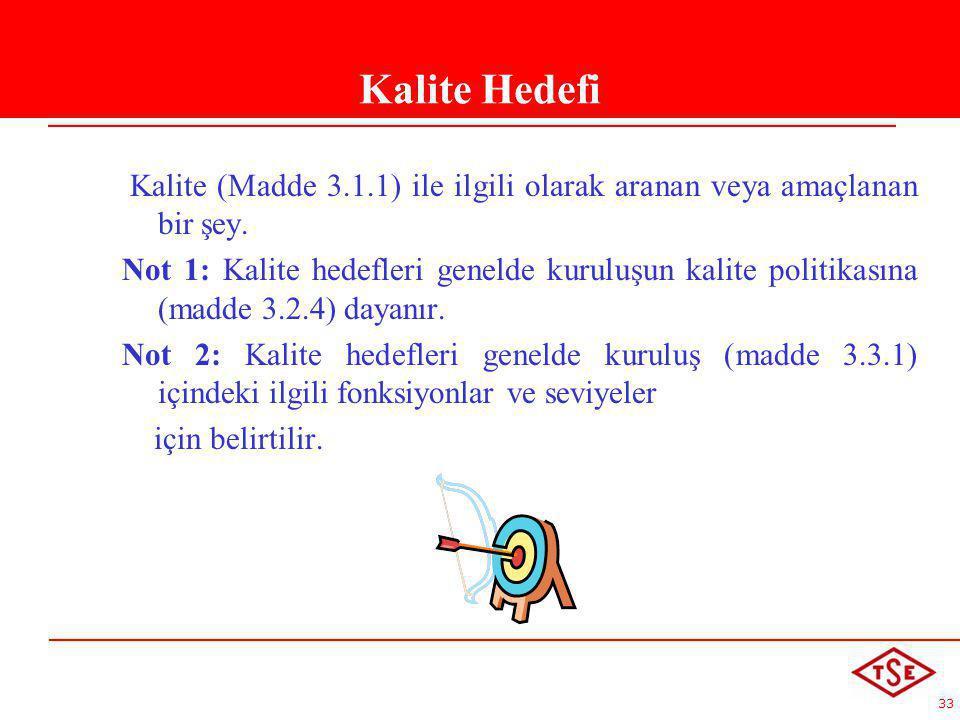 33 Kalite Hedefi Kalite (Madde 3.1.1) ile ilgili olarak aranan veya amaçlanan bir şey. Not 1: Kalite hedefleri genelde kuruluşun kalite politikasına (