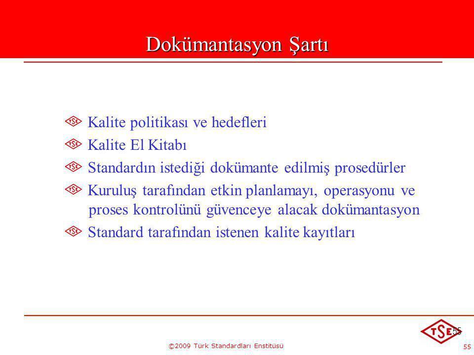 55 ©2009 Türk Standardları Enstitüsü 55 Dokümantasyon Şartı Kalite politikası ve hedefleri Kalite El Kitabı Standardın istediği dokümante edilmiş pros
