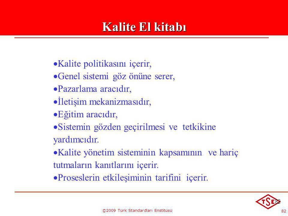 82 ©2009 Türk Standardları Enstitüsü 82 Kalite El kitabı   Kalite politikasını içerir,   Genel sistemi göz önüne serer,   Pazarlama aracıdır, 