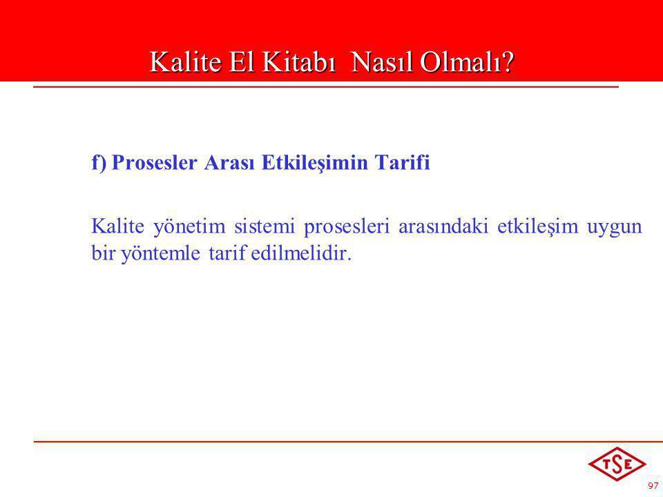 97 f) Prosesler Arası Etkileşimin Tarifi Kalite yönetim sistemi prosesleri arasındaki etkileşim uygun bir yöntemle tarif edilmelidir. Kalite El Kitabı