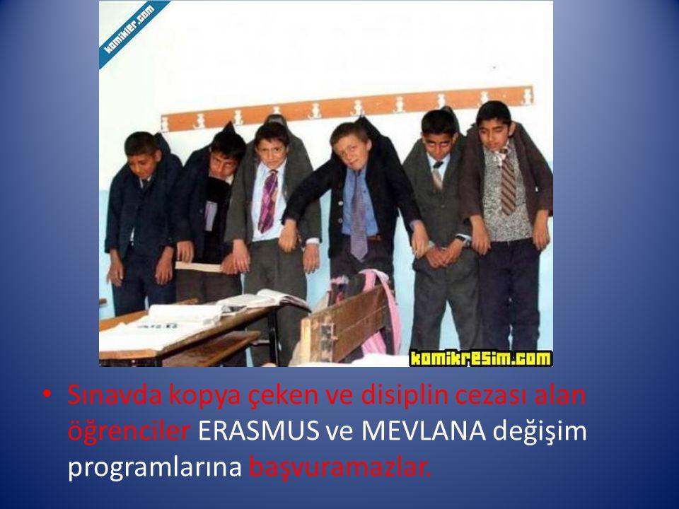 ERASMUS Öğrenim Hareketliliği Faaliyeti için Genel Kriterler: Lisans öğrencileri için asgari 2.00 / 4.00 (70/100) not ortalaması Yüksek lisans ve dokt