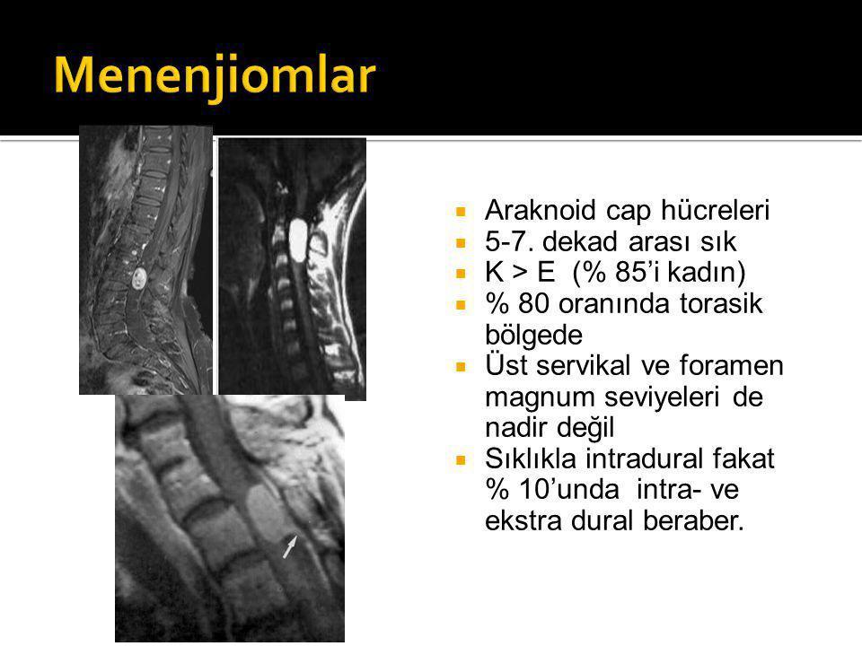  Araknoid cap hücreleri  5-7.