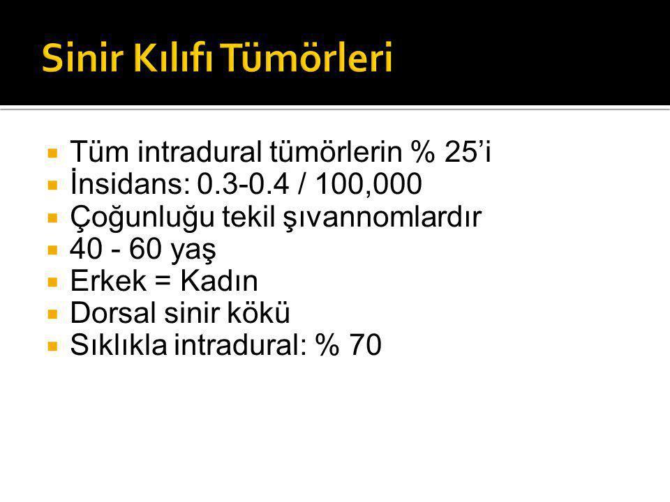  Tüm intradural tümörlerin % 25'i  İnsidans: 0.3-0.4 / 100,000  Çoğunluğu tekil şıvannomlardır  40 - 60 yaş  Erkek = Kadın  Dorsal sinir kökü  Sıklıkla intradural: % 70