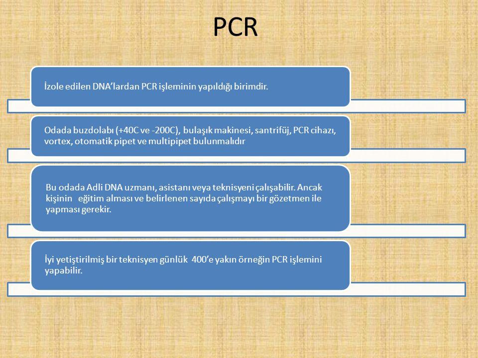 PCR İzole edilen DNA'lardan PCR işleminin yapıldığı birimdir. Odada buzdolabı (+40C ve -200C), bulaşık makinesi, santrifüj, PCR cihazı, vortex, otomat