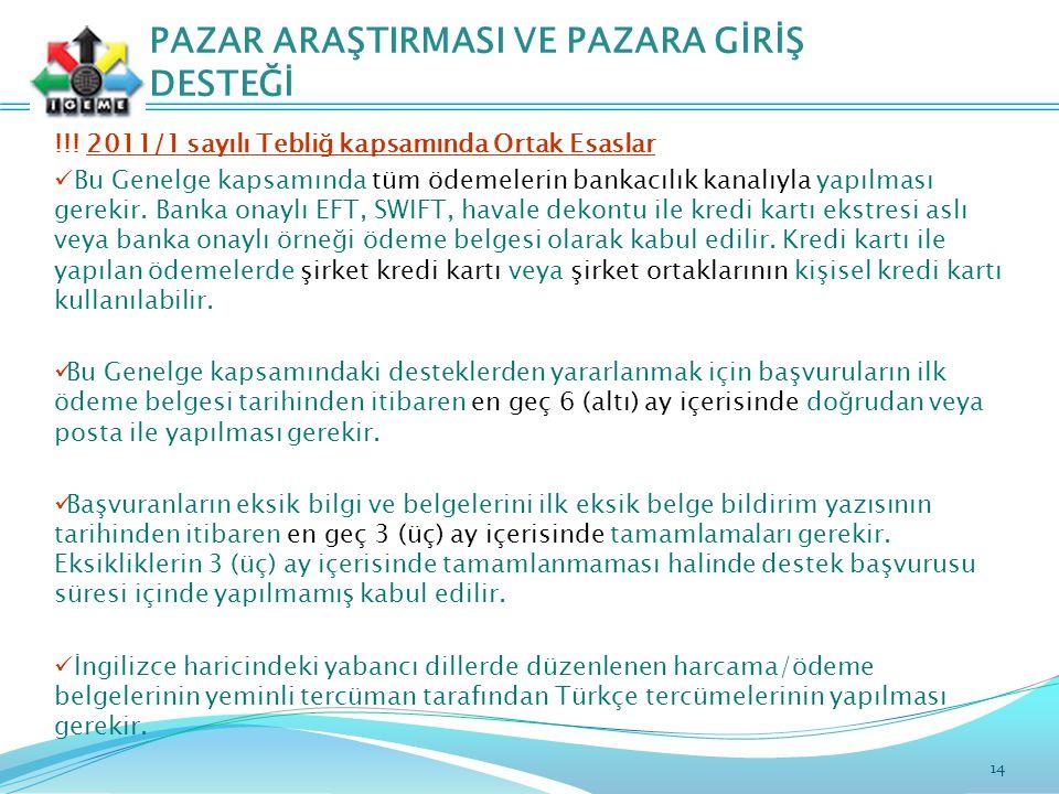 14 PAZAR ARAŞTIRMASI VE PAZARA GİRİŞ DESTEĞİ !!.