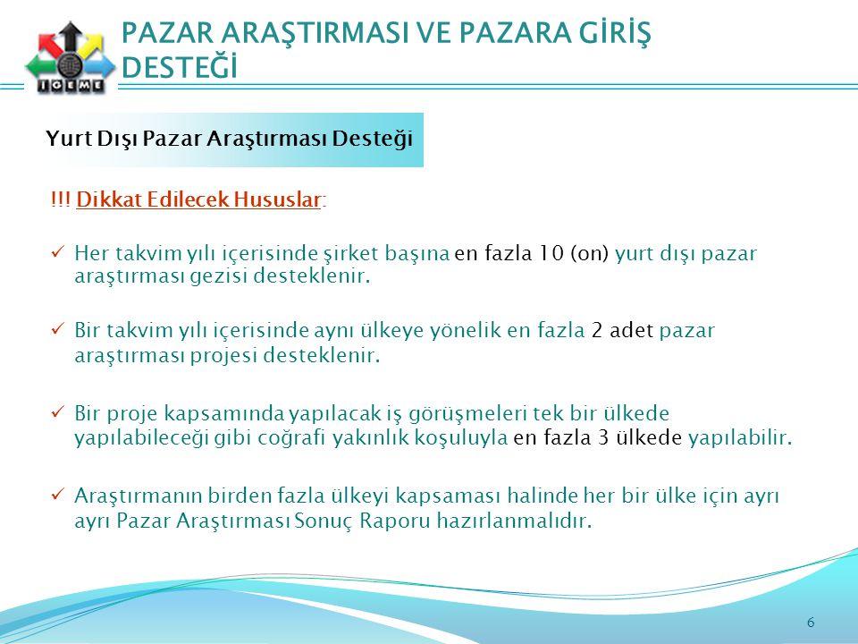 6 PAZAR ARAŞTIRMASI VE PAZARA GİRİŞ DESTEĞİ Yurt Dışı Pazar Araştırması Desteği !!.