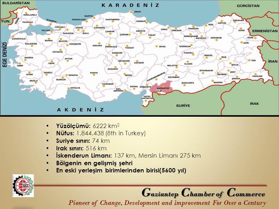 Yüzölçümü: 6222 km 2 Nüfus: 1.844.438 (8th in Turkey) Suriye sınırı: 74 km Irak sınırı: 516 km İskenderun Limanı: 137 km, Mersin Limanı 275 km Bölgeni