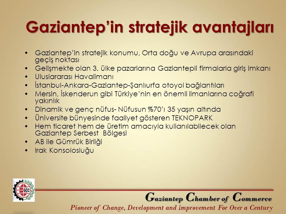Gaziantep'in stratejik avantajları Gaziantep'in stratejik konumu, Orta doğu ve Avrupa arasındaki geçiş noktası Gelişmekte olan 3. ülke pazarlarına Gaz