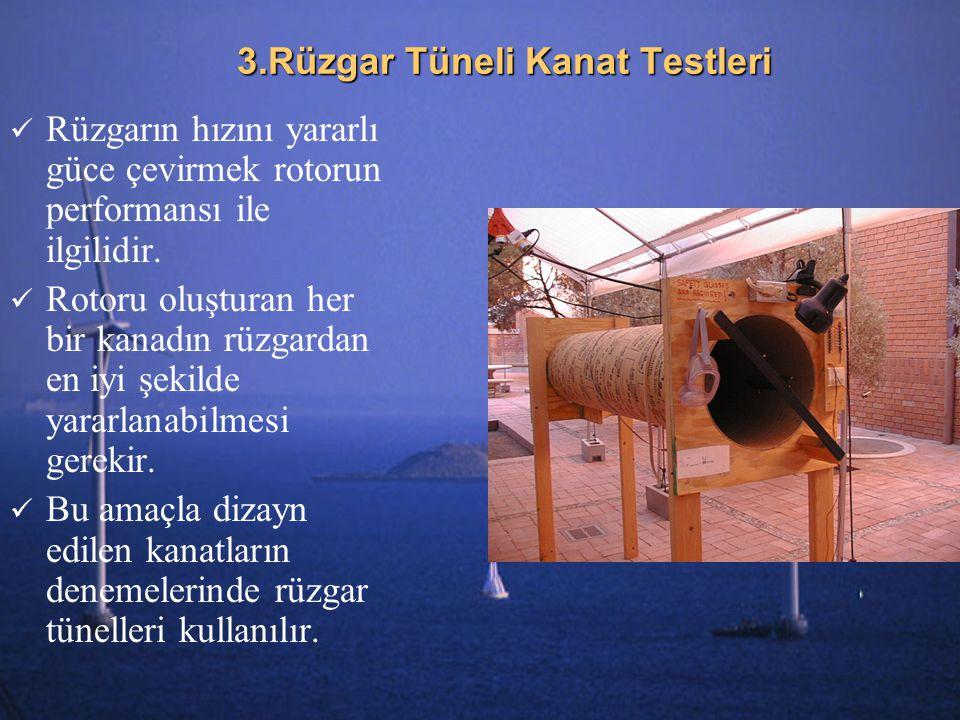 3.Rüzgar Tüneli Kanat Testleri Rüzgarın hızını yararlı güce çevirmek rotorun performansı ile ilgilidir. Rotoru oluşturan her bir kanadın rüzgardan en