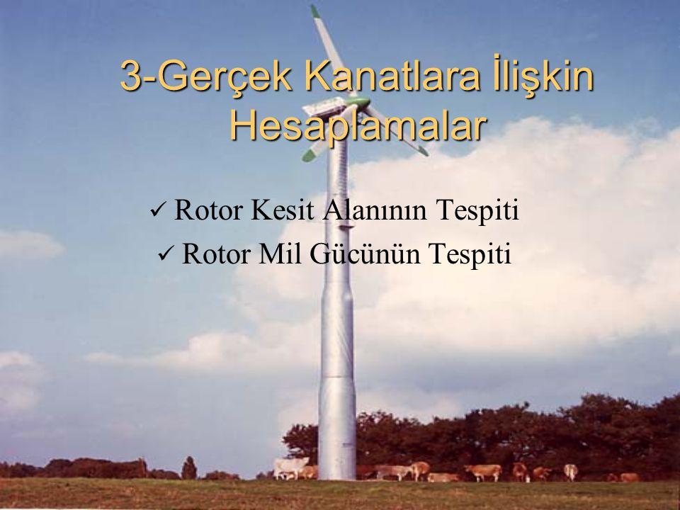 3-Gerçek Kanatlara İlişkin Hesaplamalar Rotor Kesit Alanının Tespiti Rotor Mil Gücünün Tespiti