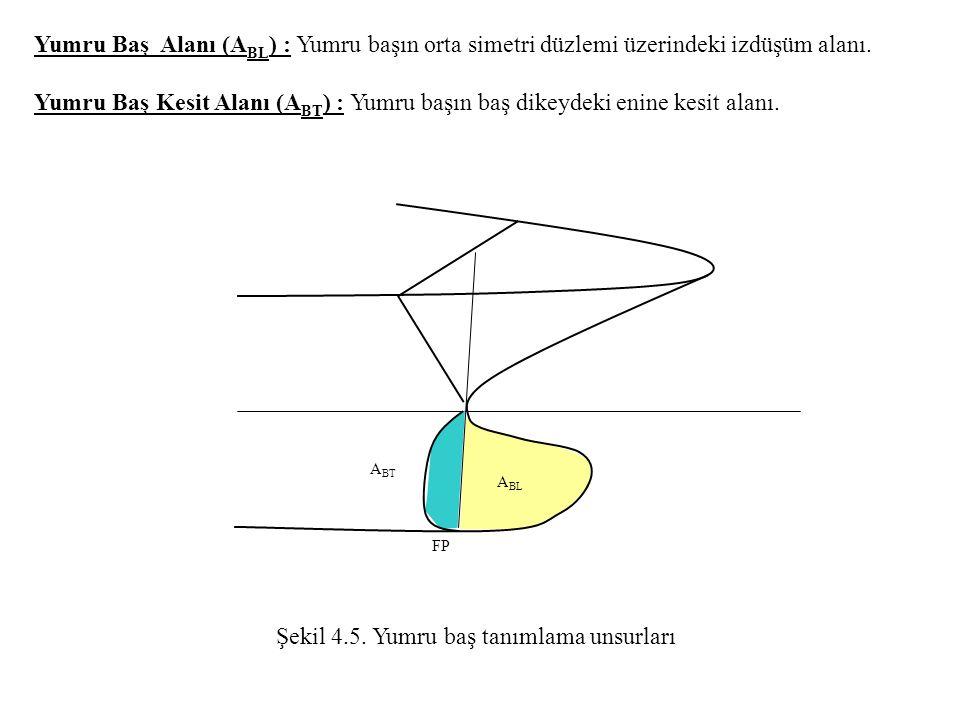 Yumru Baş Alanı (A BL ) : Yumru başın orta simetri düzlemi üzerindeki izdüşüm alanı. Yumru Baş Kesit Alanı (A BT ) : Yumru başın baş dikeydeki enine k