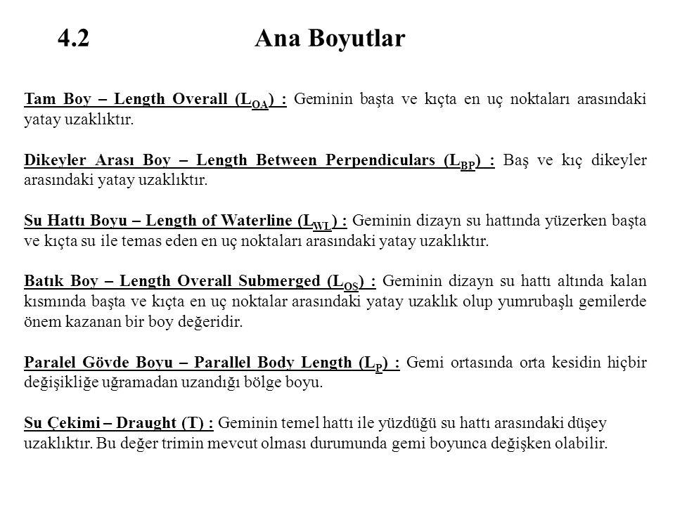 4.2 Ana Boyutlar Tam Boy – Length Overall (L OA ) : Geminin başta ve kıçta en uç noktaları arasındaki yatay uzaklıktır. Dikeyler Arası Boy – Length Be
