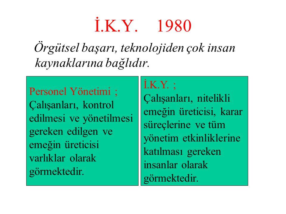 İ.K.Y. 1980 Örgütsel başarı, teknolojiden çok insan kaynaklarına bağlıdır. Personel Yönetimi ; Çalışanları, kontrol edilmesi ve yönetilmesi gereken ed