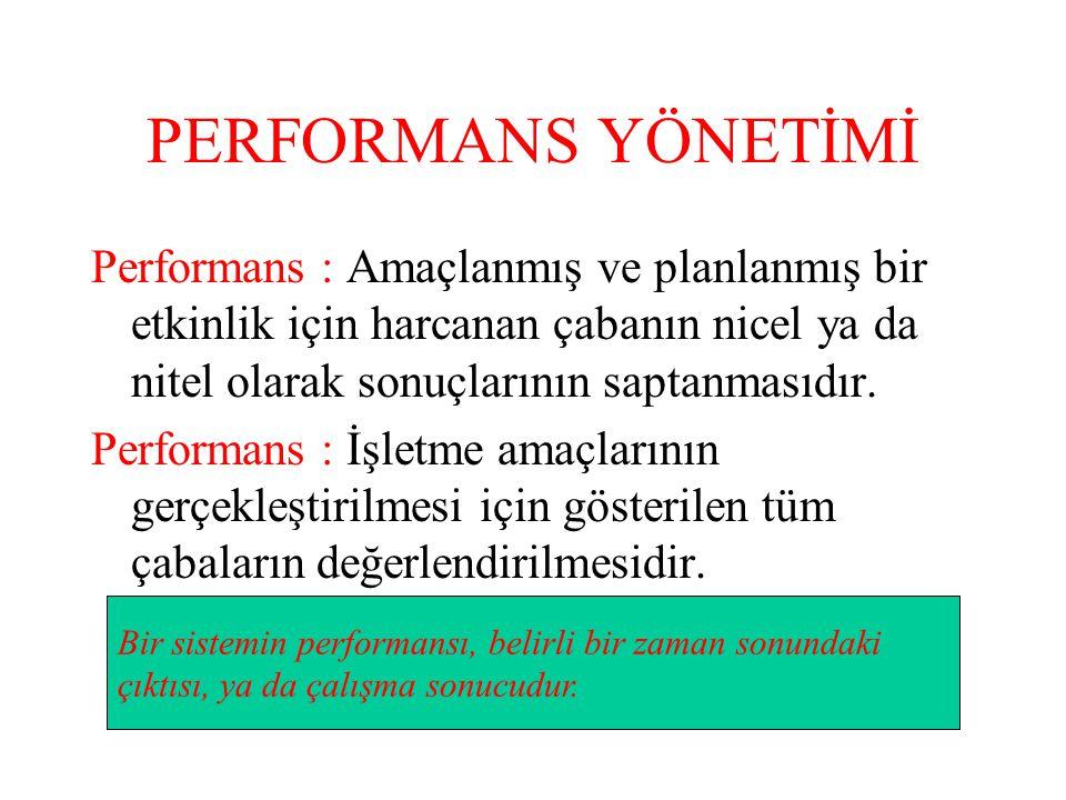 PERFORMANS YÖNETİMİ Performans : Amaçlanmış ve planlanmış bir etkinlik için harcanan çabanın nicel ya da nitel olarak sonuçlarının saptanmasıdır. Perf