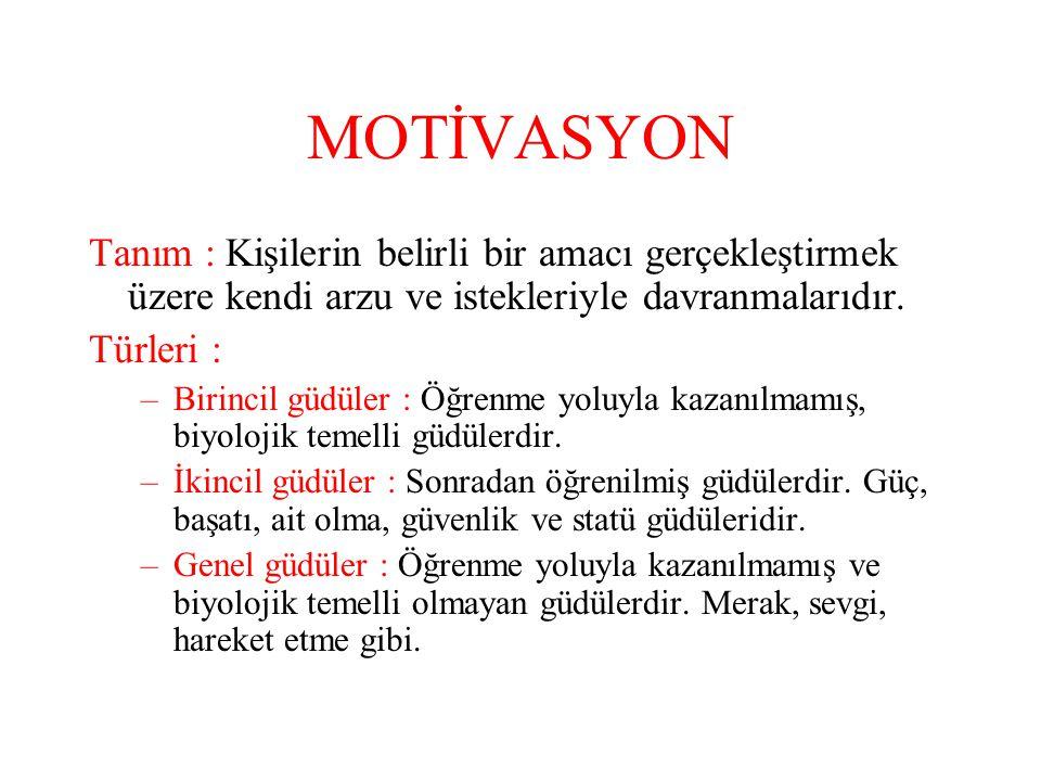 MOTİVASYON Tanım : Kişilerin belirli bir amacı gerçekleştirmek üzere kendi arzu ve istekleriyle davranmalarıdır. Türleri : –Birincil güdüler : Öğrenme