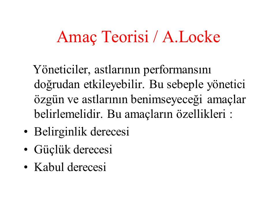 Amaç Teorisi / A.Locke Yöneticiler, astlarının performansını doğrudan etkileyebilir. Bu sebeple yönetici özgün ve astlarının benimseyeceği amaçlar bel