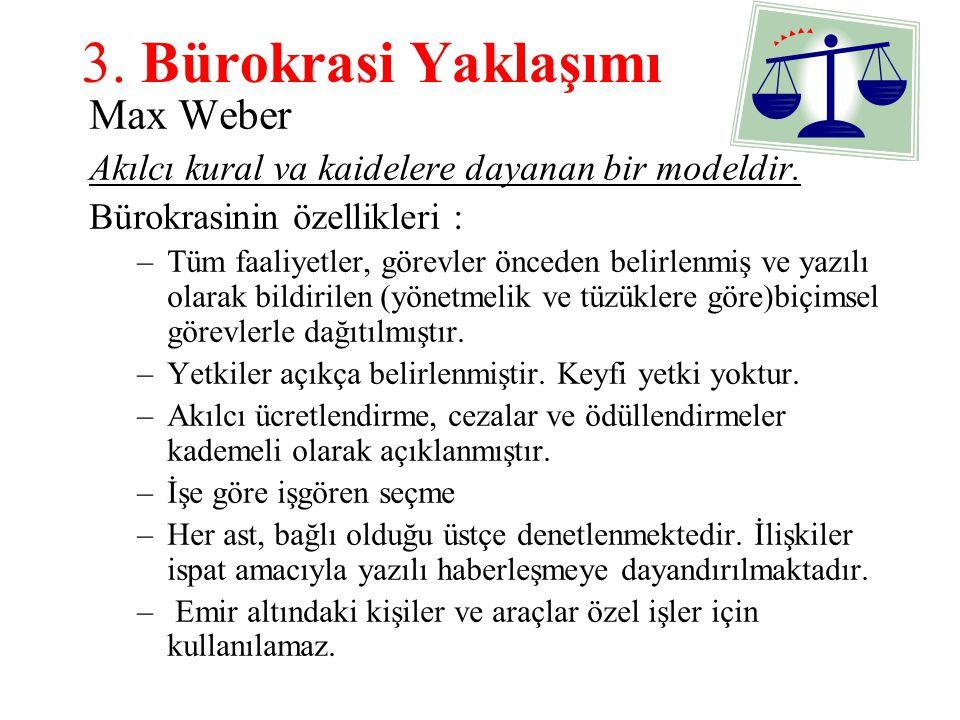 3. Bürokrasi Yaklaşımı Max Weber Akılcı kural va kaidelere dayanan bir modeldir. Bürokrasinin özellikleri : –Tüm faaliyetler, görevler önceden belirle