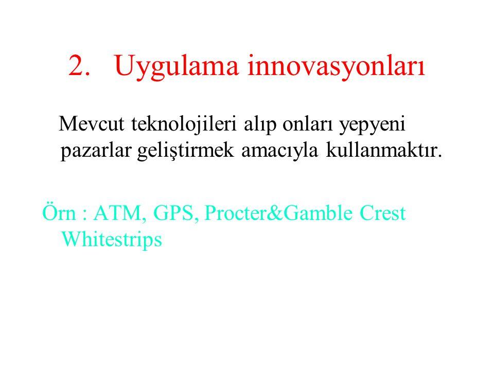 2.Uygulama innovasyonları Mevcut teknolojileri alıp onları yepyeni pazarlar geliştirmek amacıyla kullanmaktır. Örn : ATM, GPS, Procter&Gamble Crest Wh