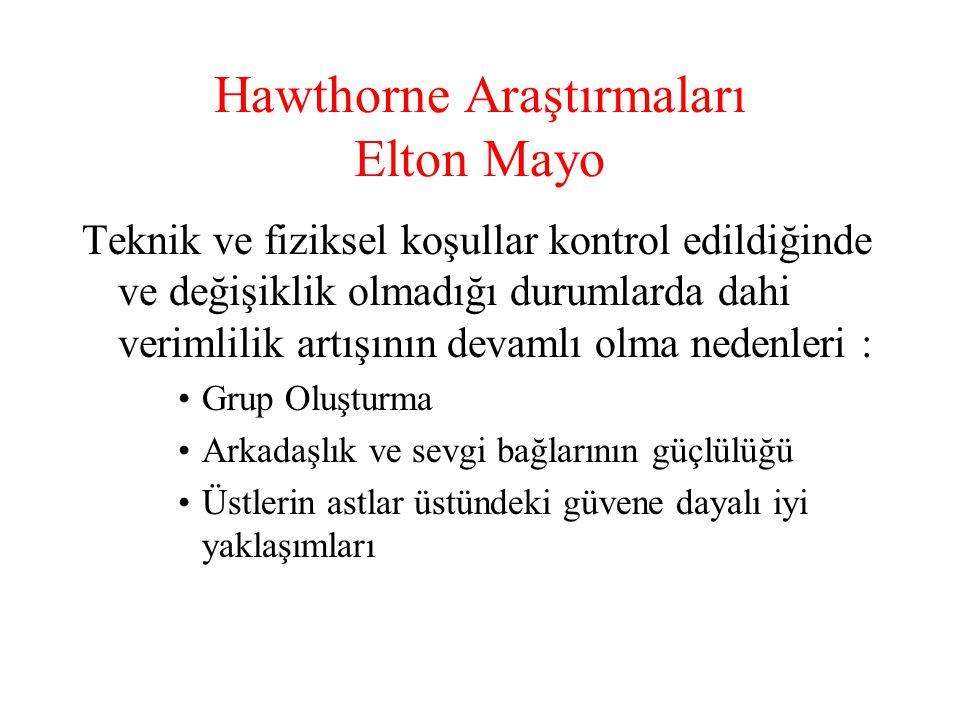 Hawthorne Araştırmaları Elton Mayo Teknik ve fiziksel koşullar kontrol edildiğinde ve değişiklik olmadığı durumlarda dahi verimlilik artışının devamlı