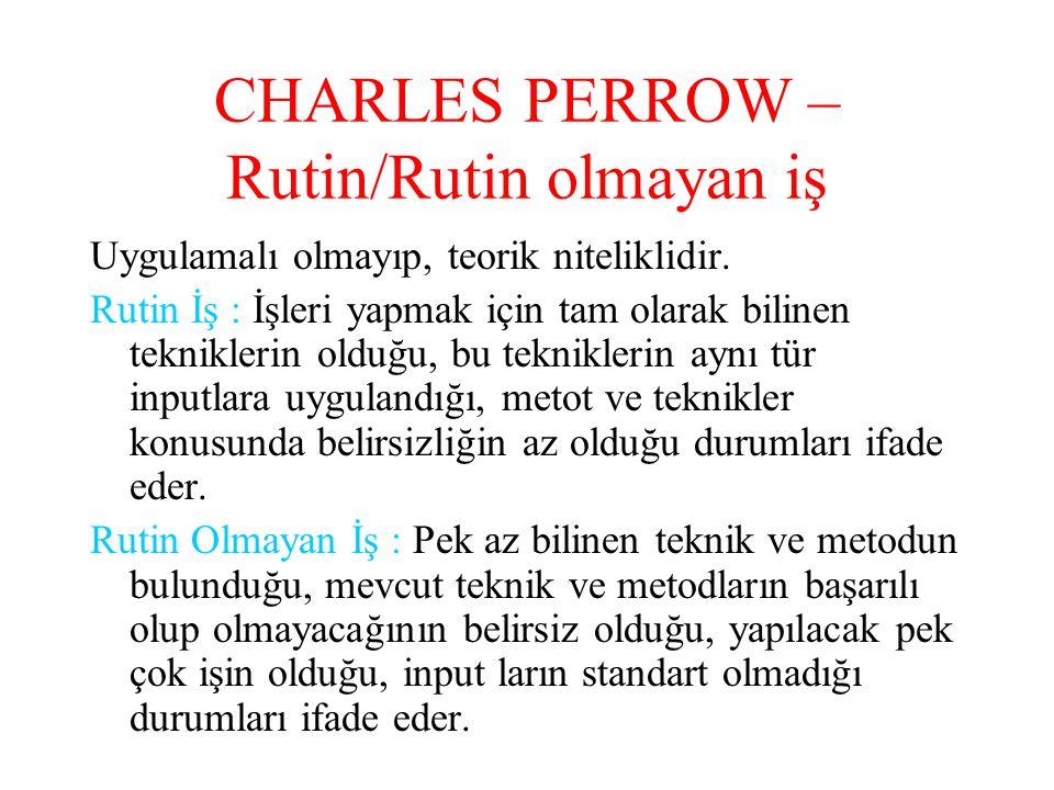 CHARLES PERROW – Rutin/Rutin olmayan iş Uygulamalı olmayıp, teorik niteliklidir. Rutin İş : İşleri yapmak için tam olarak bilinen tekniklerin olduğu,