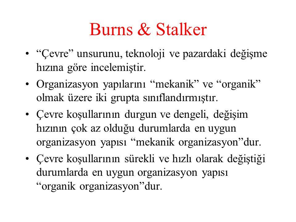 """Burns & Stalker """"Çevre"""" unsurunu, teknoloji ve pazardaki değişme hızına göre incelemiştir. Organizasyon yapılarını """"mekanik"""" ve """"organik"""" olmak üzere"""