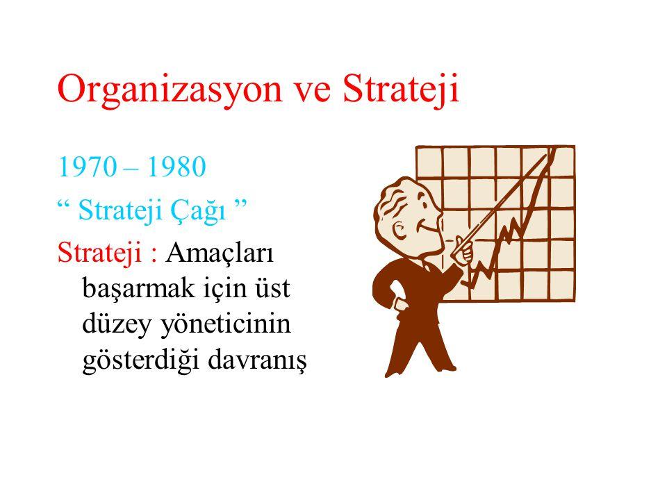 """Organizasyon ve Strateji 1970 – 1980 """" Strateji Çağı """" Strateji : Amaçları başarmak için üst düzey yöneticinin gösterdiği davranış"""