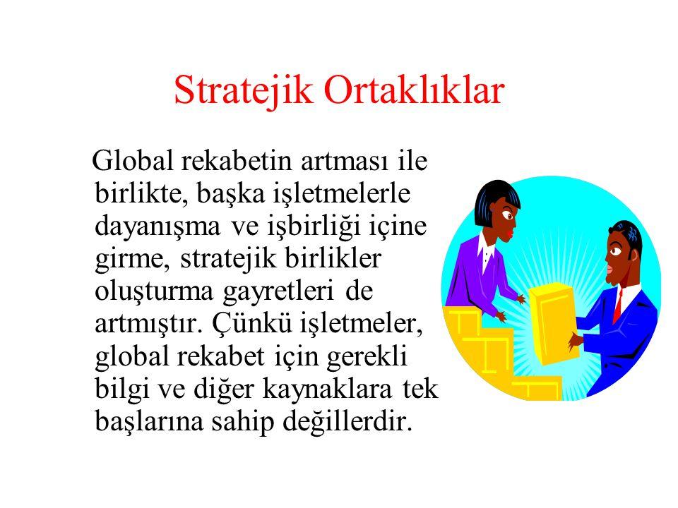 Stratejik Ortaklıklar Global rekabetin artması ile birlikte, başka işletmelerle dayanışma ve işbirliği içine girme, stratejik birlikler oluşturma gayr