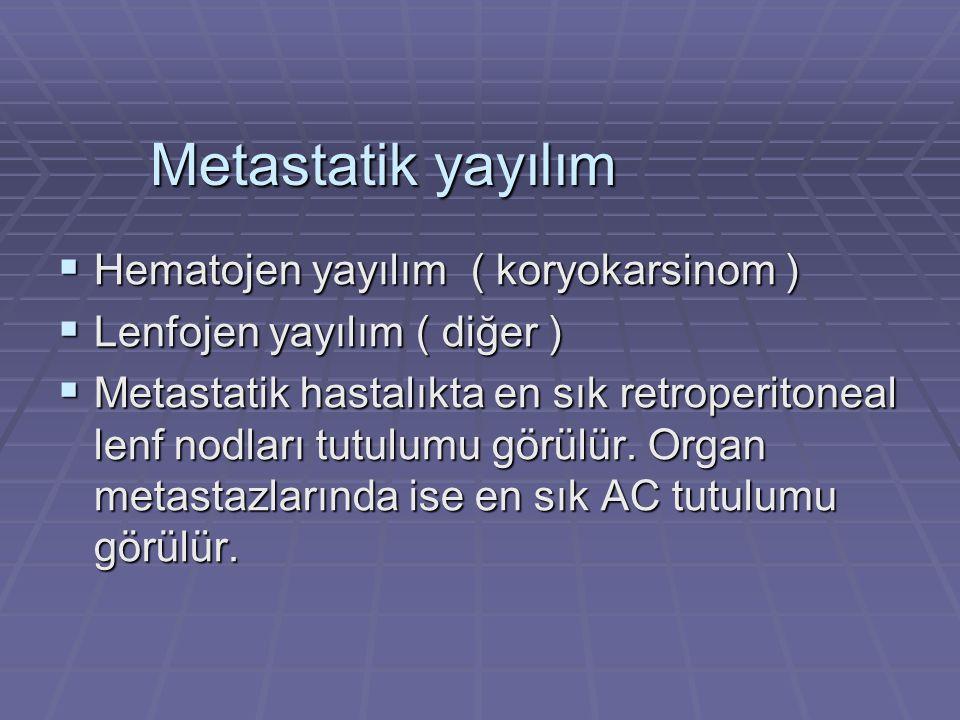 Metastatik yayılım  Hematojen yayılım ( koryokarsinom )  Lenfojen yayılım ( diğer )  Metastatik hastalıkta en sık retroperitoneal lenf nodları tutulumu görülür.