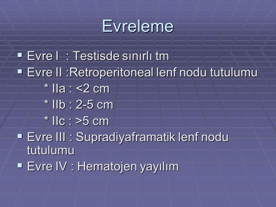 Evreleme  Evre I : Testisde sınırlı tm  Evre II :Retroperitoneal lenf nodu tutulumu * IIa : <2 cm * IIa : <2 cm * IIb : 2-5 cm * IIb : 2-5 cm * IIc : >5 cm * IIc : >5 cm  Evre III : Supradiyaframatik lenf nodu tutulumu  Evre IV : Hematojen yayılım