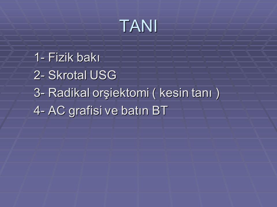 TANI 1- Fizik bakı 1- Fizik bakı 2- Skrotal USG 2- Skrotal USG 3- Radikal orşiektomi ( kesin tanı ) 3- Radikal orşiektomi ( kesin tanı ) 4- AC grafisi ve batın BT 4- AC grafisi ve batın BT