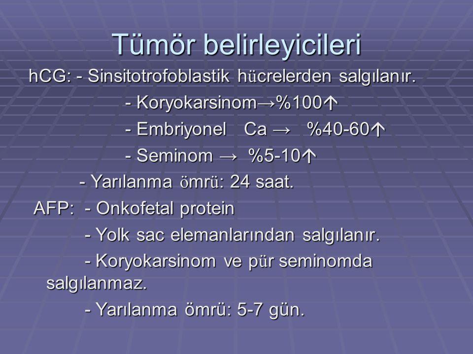 Tümör belirleyicileri hCG: - Sinsitotrofoblastik h ü crelerden salgılanır. - Koryokarsinom→%100  - Koryokarsinom→%100  - Embriyonel Ca → %40-60  -