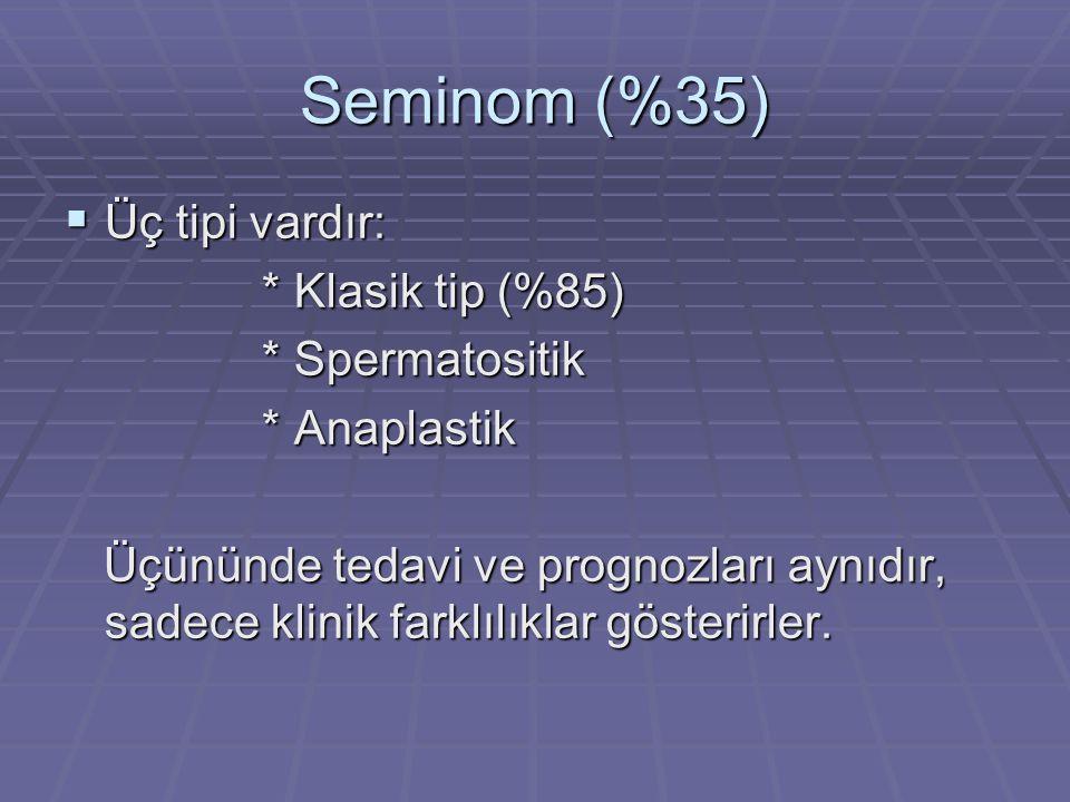 Seminom (%35)  Üç tipi vardır: * Klasik tip (%85) * Klasik tip (%85) * Spermatositik * Spermatositik * Anaplastik * Anaplastik Üçününde tedavi ve prognozları aynıdır, sadece klinik farklılıklar gösterirler.