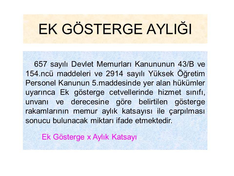 EK GÖSTERGE AYLIĞI 657 sayılı Devlet Memurları Kanununun 43/B ve 154.ncü maddeleri ve 2914 sayılı Yüksek Öğretim Personel Kanunun 5.maddesinde yer ala