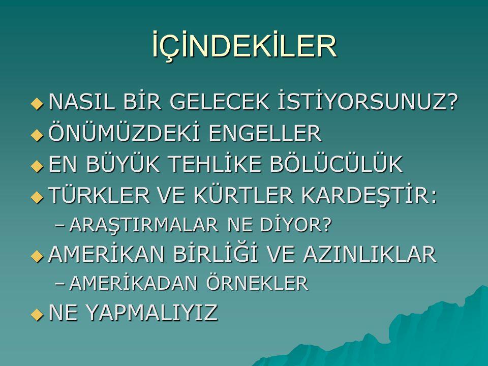 BİLGESAM Araştırması Bilge Adamlar Stratejik Araştırmalar Merkezi  Üyeleri arasında Emekli Büyükelçi İlter Türkmen, Yargıtay Onursal Başkanı Sami Selçuk ve emekli bürokratların bulunduğu BİLGESAM adlı kuruluşun yaptırdığı Kürtler ve Zazalar Ne düşünüyor.