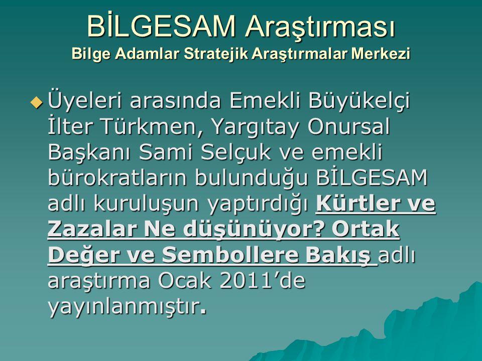 BİLGESAM Araştırması Bilge Adamlar Stratejik Araştırmalar Merkezi  Üyeleri arasında Emekli Büyükelçi İlter Türkmen, Yargıtay Onursal Başkanı Sami Sel