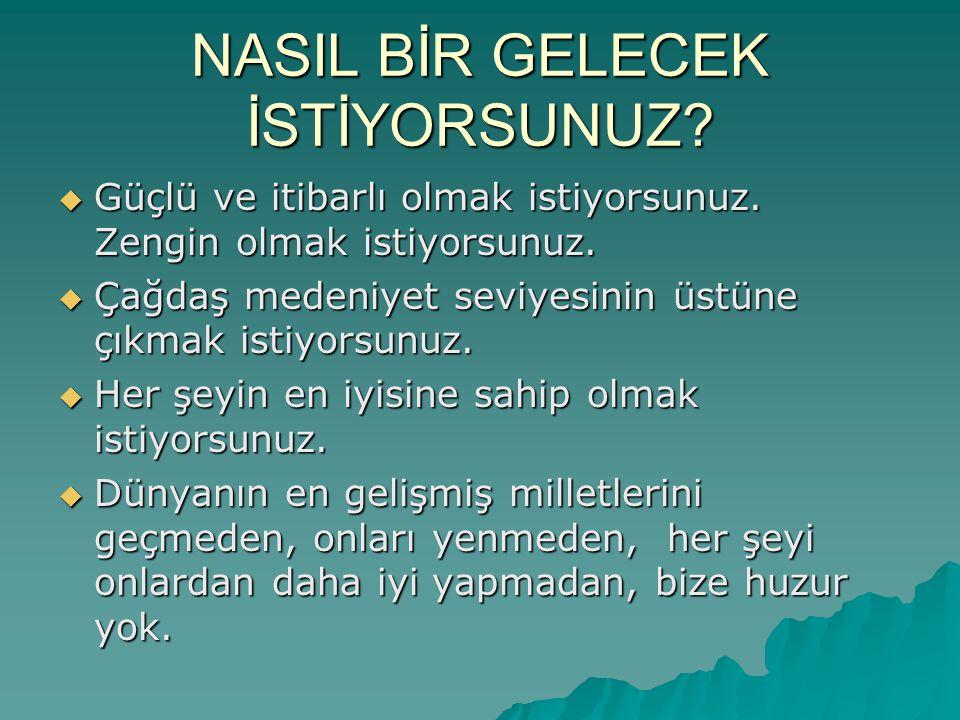 Lider Ülke Türkiye  Türkiye'nin başka ülkeler tarafından saygı duyulan, her bakımdan örnek alınan, model bir ülke olmasını, lider ülke olmasını istiyoruz.