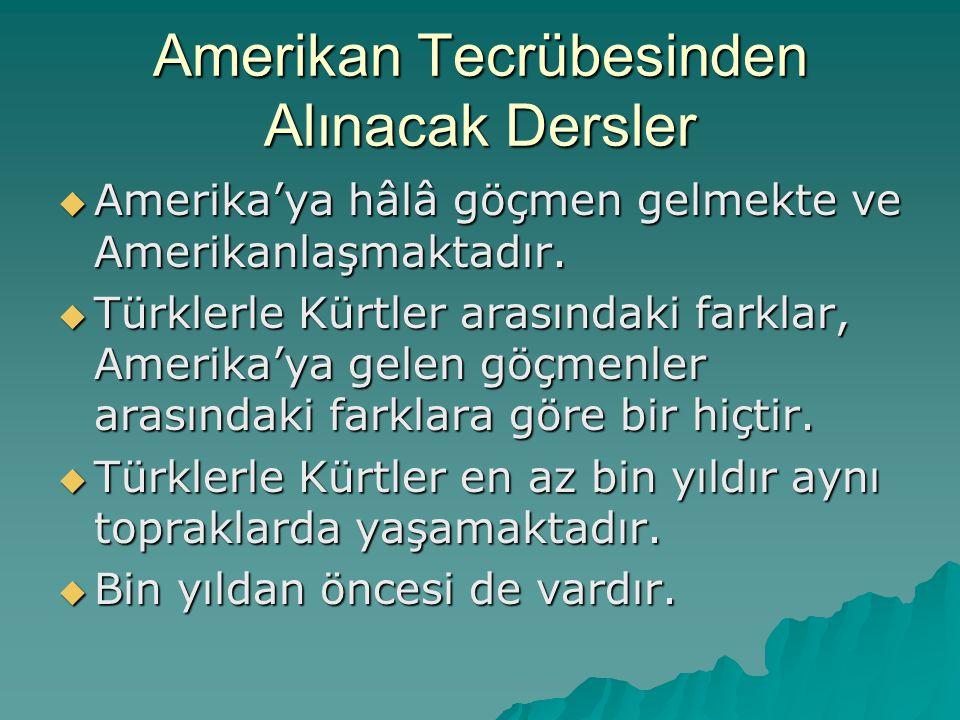 Amerikan Tecrübesinden Alınacak Dersler  Amerika'ya hâlâ göçmen gelmekte ve Amerikanlaşmaktadır.  Türklerle Kürtler arasındaki farklar, Amerika'ya g