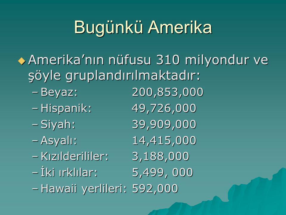 Bugünkü Amerika  Amerika'nın nüfusu 310 milyondur ve şöyle gruplandırılmaktadır: –Beyaz: 200,853,000 –Hispanik: 49,726,000 –Siyah: 39,909,000 –Asyalı