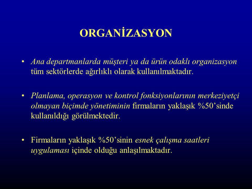 ORGANİZASYON Ana departmanlarda müşteri ya da ürün odaklı organizasyon tüm sektörlerde ağırlıklı olarak kullanılmaktadır.