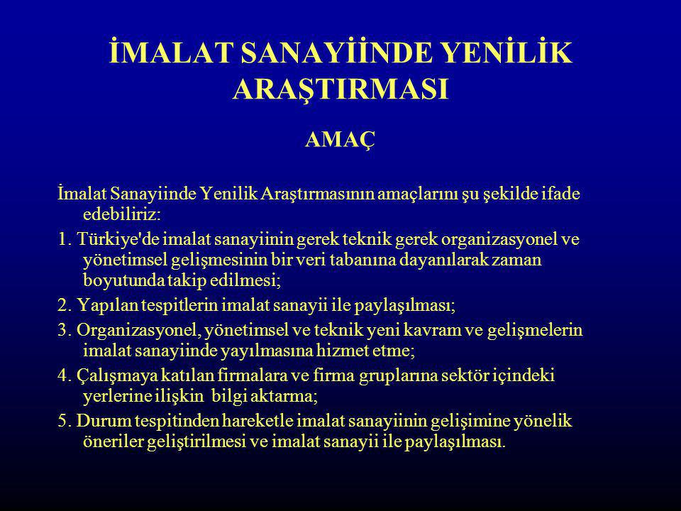 İMALAT SANAYİİNDE YENİLİK ARAŞTIRMASI KAPSAM İmalat Sanayiinde Yenilik Araştırması Türkiye'de 4 bölgede (İstanbul, Konya, Kocaeli ve Kayseri) olmak üzere 9 ilde (İstanbul, Konya, Kocaeli ve Kayseri, Kırklareli, Sakarya, Balıkesir, Karaman ve Nevşehir) yapılmıştır.