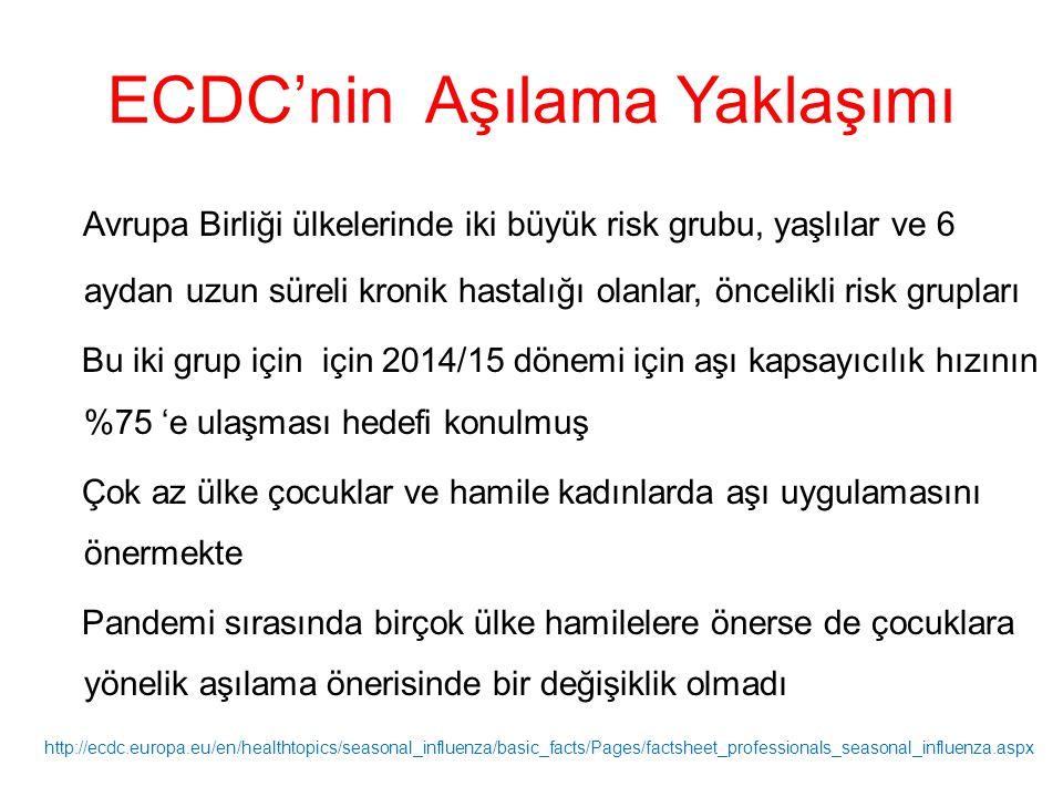 ECDC'nin Aşılama Yaklaşımı Avrupa Birliği ülkelerinde iki büyük risk grubu, yaşlılar ve 6 aydan uzun süreli kronik hastalığı olanlar, öncelikli risk g