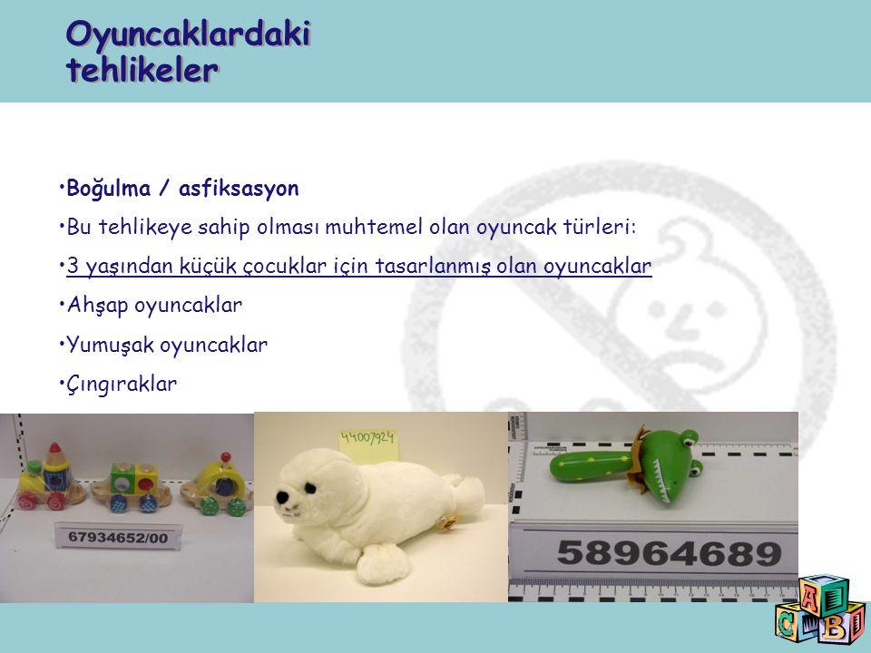 24 Boğulma / asfiksasyon Bu tehlikeye sahip olması muhtemel olan oyuncak türleri: 3 yaşından küçük çocuklar için tasarlanmış olan oyuncaklar Ahşap oyu