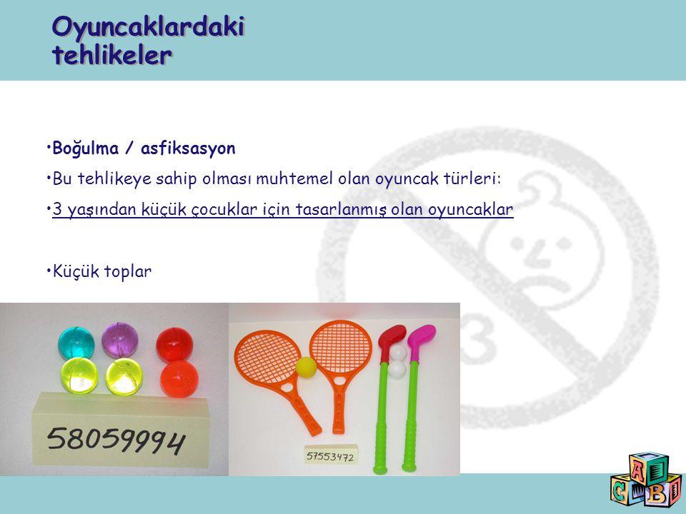 25 Boğulma / asfiksasyon Bu tehlikeye sahip olması muhtemel olan oyuncak türleri: 3 yaşından küçük çocuklar için tasarlanmış olan oyuncaklar Küçük top
