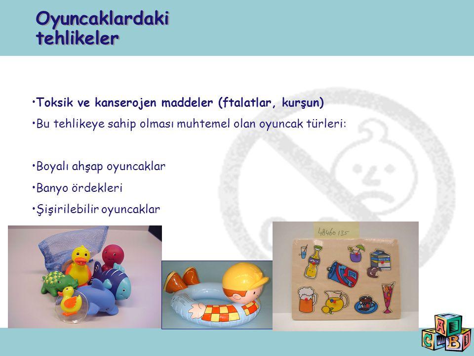 27 Toksik ve kanserojen maddeler (ftalatlar, kurşun) Bu tehlikeye sahip olması muhtemel olan oyuncak türleri: Boyalı ahşap oyuncaklar Banyo ördekleri